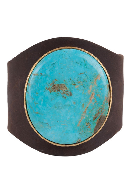 Christina Greene Turquoise Leather Cuff - Front