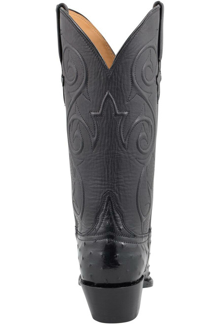 Lucchese Women's Black Full-Quill Ostrich Corded Boots - Back
