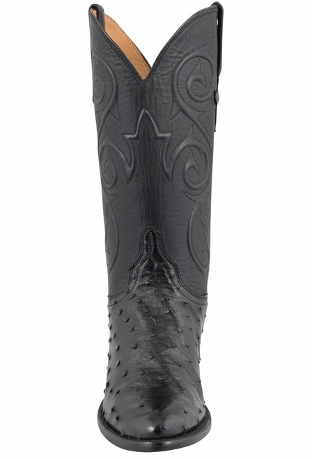Lucchese Women's Black Full-Quill Ostrich Corded Boots - Front