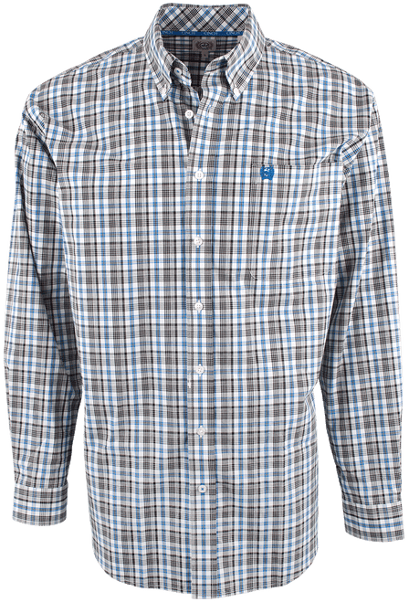 Cinch Blue and Charcoal Plaid Shirt - Front