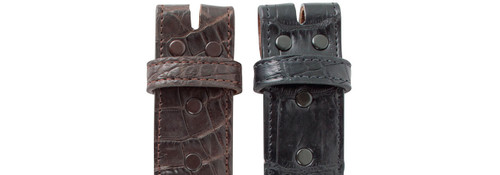 "Matte Alligator 1 1/2"" Straight Belt Strap - Snap"