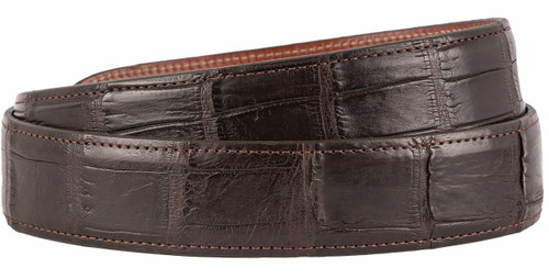 "Matte Alligator 1 1/2"" Straight Belt Strap - Brown 2"