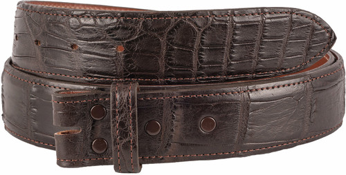 "Matte Alligator 1 1/2"" Straight Belt Strap - Brown 3"