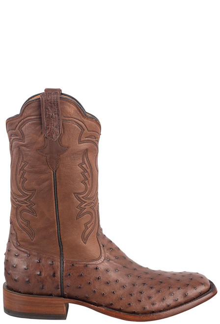 Rios of Mercedes Men's Cafe Americano and Chestnut Full-Quill Ostrich Boots - Side