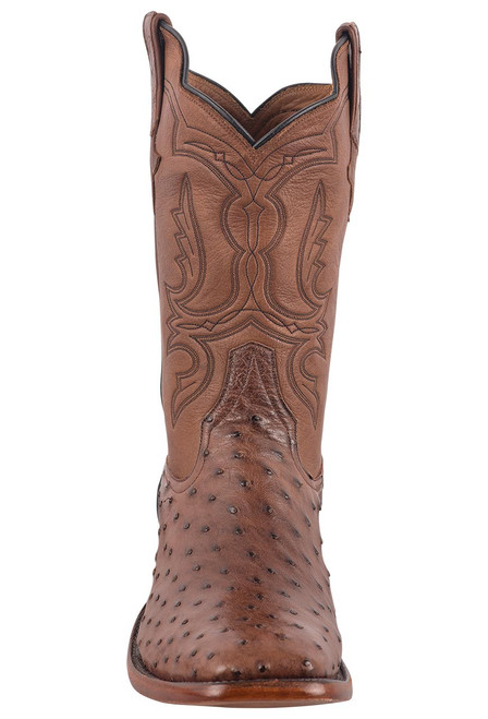 Rios of Mercedes Men's Cafe Americano and Chestnut Full-Quill Ostrich Boots - Front
