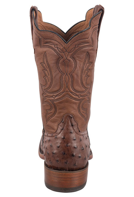 Rios of Mercedes Men's Cafe Americano and Chestnut Full-Quill Ostrich Boots - Back