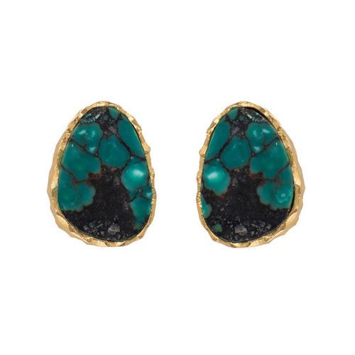 Christina Greene Turquoise Stud Earrings - Front