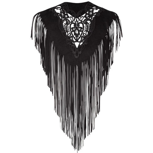 Pat Dahnke Lace Cutout Fringe Kickapoo Collar - Black - Back