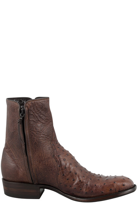 Stallion Men's Zorro Antique Saddle Full-Quill Ostrich Ankle Boots - Side