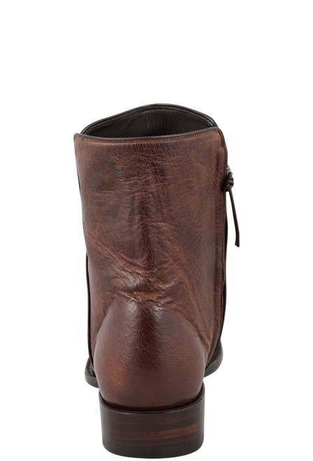 Stallion Men's Zorro Antique Saddle Full-Quill Ostrich Ankle Boots - Back