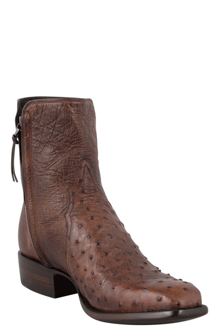 Stallion Men's Zorro Antique Saddle Full-Quill Ostrich Ankle Boots