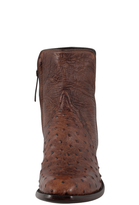 Stallion Men's Zorro Antique Saddle Full-Quill Ostrich Ankle Boots - Front