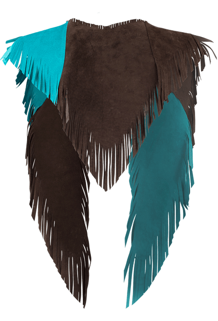 Pat Dahnke Kickapoo Collar with Beaded Fringe - Brown/Turquoise - Back