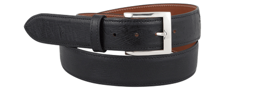 "Smooth Ostrich 1 1/2"" Straight Belt - Black"
