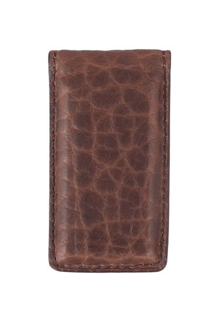Bison Magnetic Money Clip - Brown - Front
