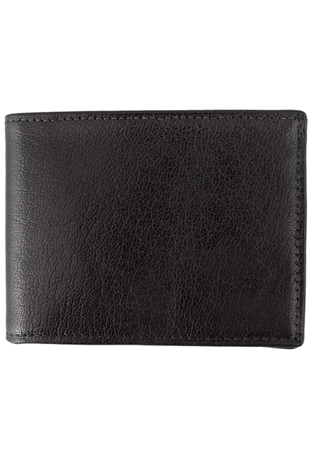 Calf Slim Fold Wallet - Black - Front
