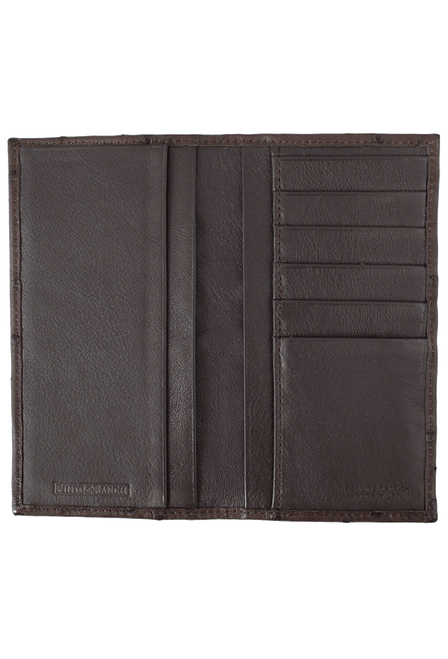 Ostrich Checretary Wallet - Brown - Inside