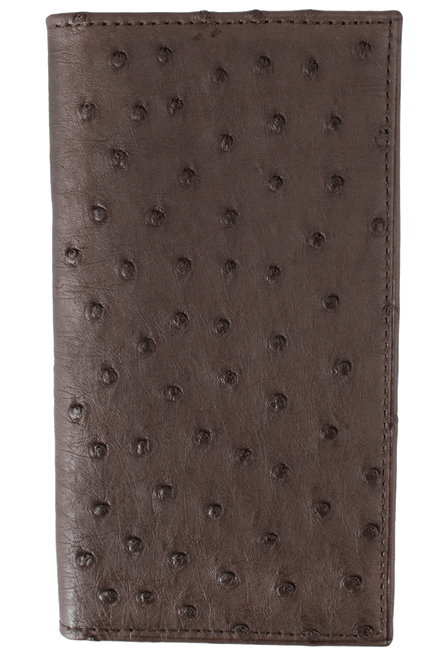 Ostrich Checretary Wallet - Brown - Front