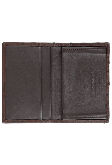Ostrich Gusseted Card Case - Brown - Inside