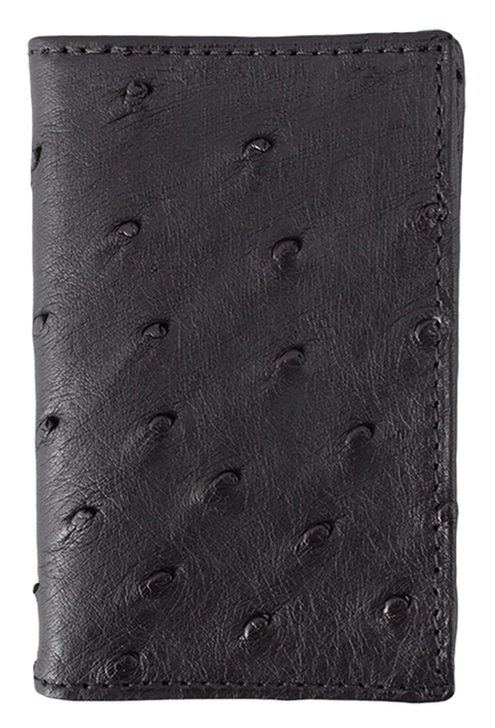 Ostrich Gusseted Card Case - Black - Front