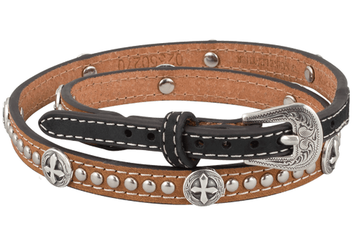 Cross Concho Studded Leather Hat Band - Tan
