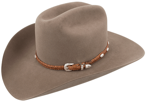 Scalloped Leather Hat Band with Conchos - Tan - Hero