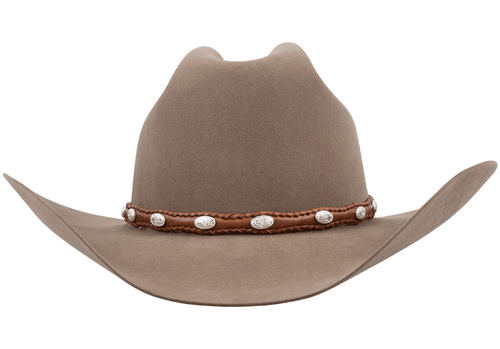Scalloped Leather Hat Band with Conchos - Tan - Front