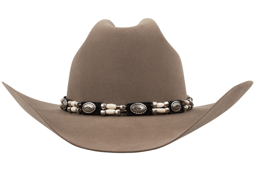Leather and Bone Beaded Hat Band - Front