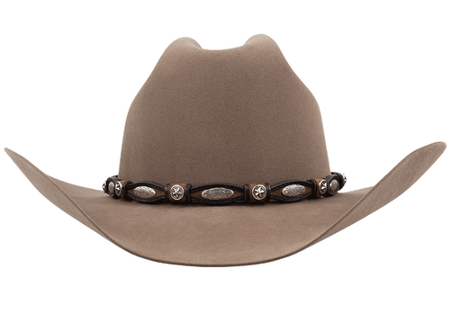 Tan and Black Scalloped Leather Hat Band with Conchos - Front