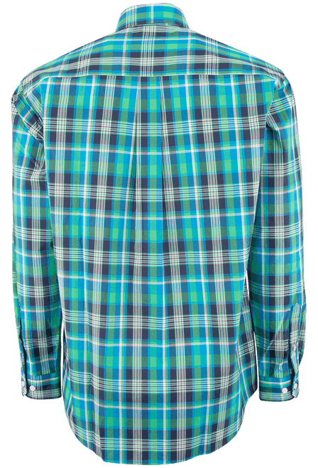 Cinch Blue and Green Bold Plaid Plain Weave Shirt - Back