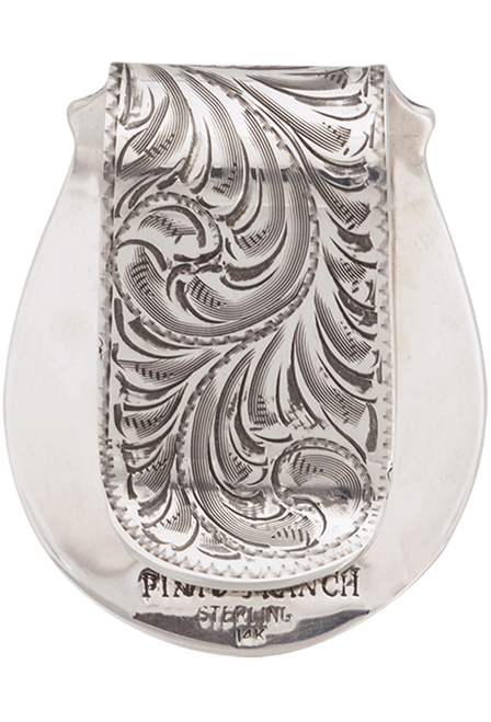 Pinto Ranch Texas State Seal Silver and Gold Engraved Money Clip - Back