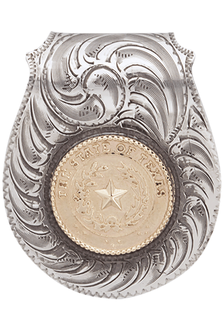 Pinto Ranch Texas State Seal Silver and Gold Engraved Money Clip - Front