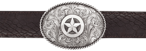 "Silver King Oval Star with Rope Edge 1 1/2"" Trophy Buckle"
