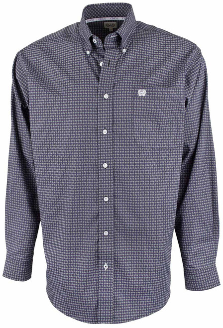 Cinch Black and Purple Linked Print Shirt - Front