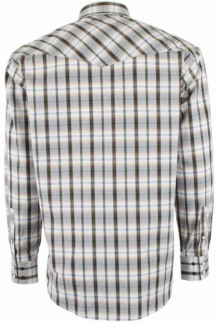 Miller Ranch White and Brown Plaid Snap Shirt - Back