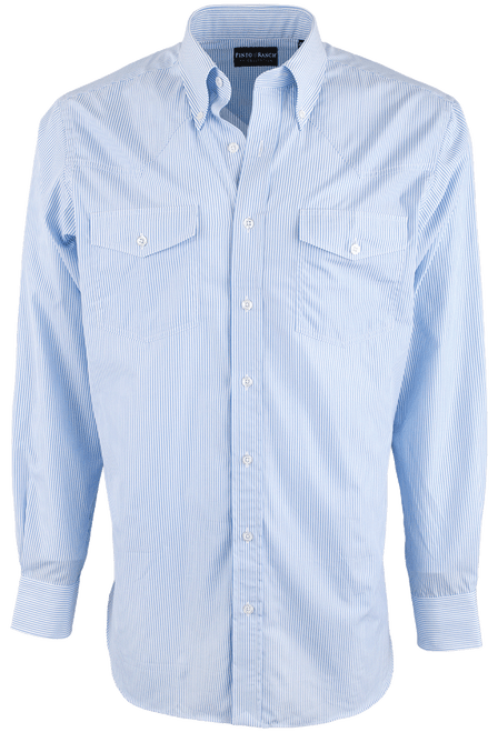 Pinto Ranch YY Collection Blue Ribbon Stripe Shirt - Front