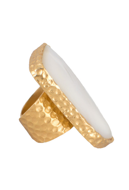 Christina Greene Mother of Pearl Shield Ring - Side