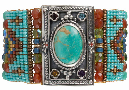 Chili Rose Green Turquoise Bracelet - Front