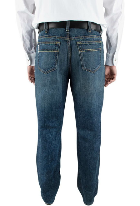 Cinch White Label Relaxed Fit Dark Stonewash Jeans - Back