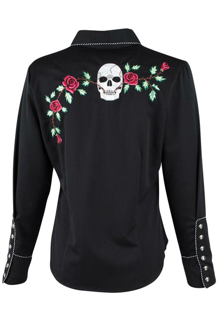 Scully Women's Skull and Roses Snap Shirt - Back