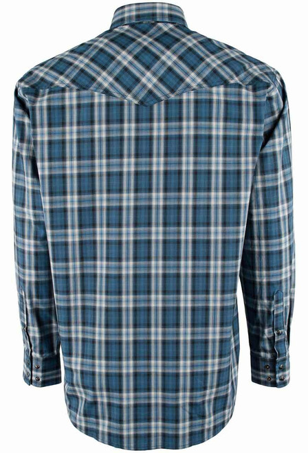 Miller Ranch Navy, Black and White Plaid Snap Shirt - Back