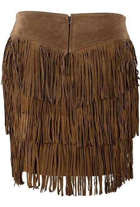 Scully Short Suede Three Tiered Fringe Skirt - Back