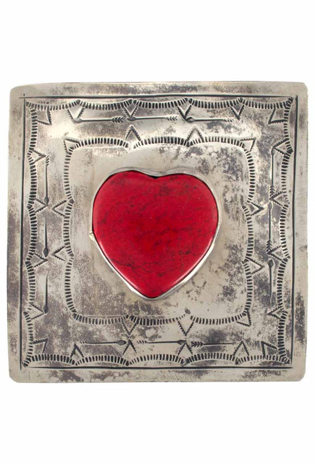 J. Alexander Silver Stamped Box with Coral Heart - Up