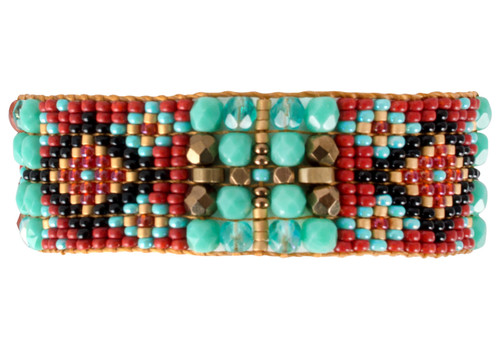 Chili Rose Green Turquoise and Red Bracelet - Back