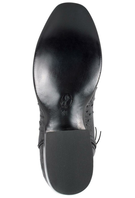 Stallion Men's Zorro Black Full-Quill Smooth Ostrich Ankle Boots - Bottom