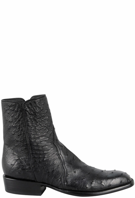 Stallion Men's Zorro Black Full-Quill Smooth Ostrich Ankle Boots - Side
