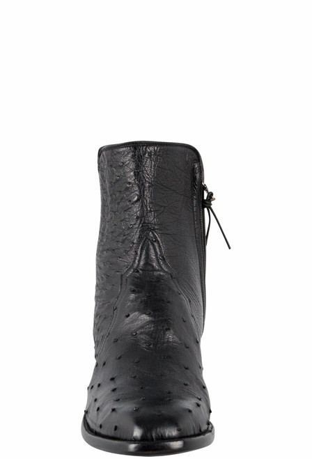Stallion Men's Zorro Black Full-Quill Smooth Ostrich Ankle Boots - Front