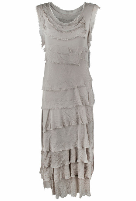 Gigi Sleeveless Long Ruffle Dress - Taupe - Front