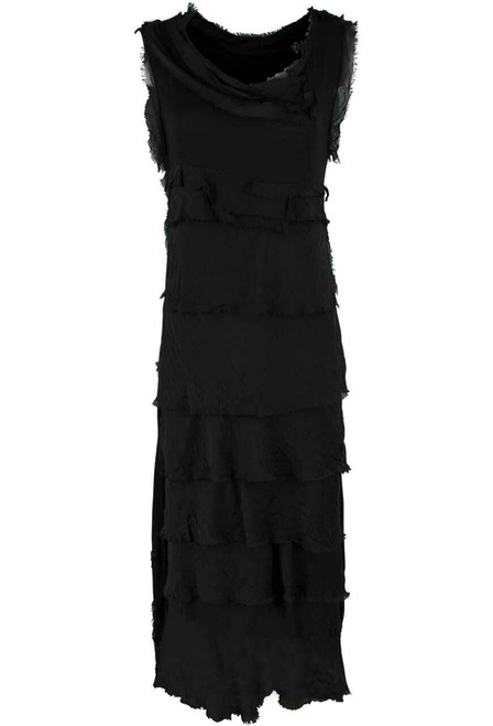 Gigi Sleeveless Long Ruffle Dress - Black - Front