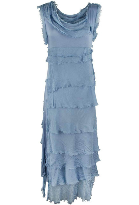 Gigi Sleeveless Long Ruffle Dress - Denim - Front